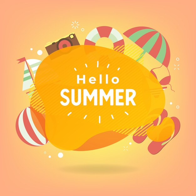 Hello summer with colorful beach elements. Premium Vector
