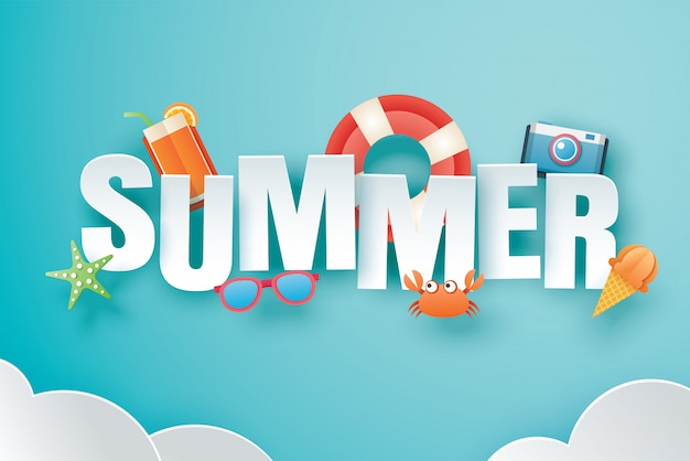 Hello summer with decoration origami on blue sky background Premium Vector