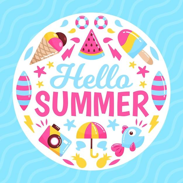 Ciao estate con gelato ed elementi essenziali per la spiaggia Vettore gratuito