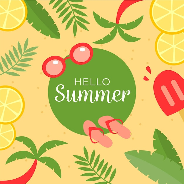 Hello summer with lemons slices and palm trees Free Vector