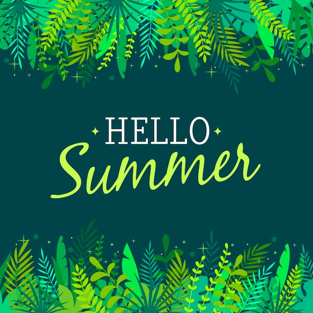 Hello summer with luxurious vegetation Free Vector