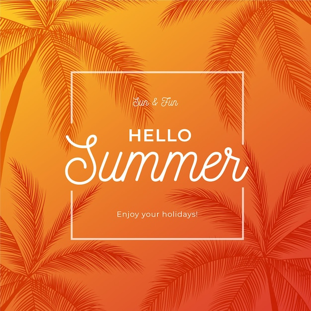 Hello summer with palm trees Free Vector