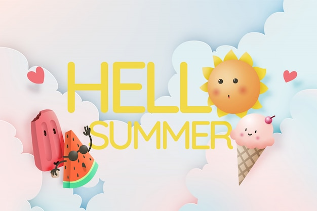 Hello summer with tropical fruits and ice cream Premium Vector