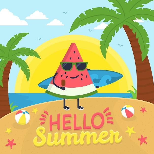 Hello summer with watermelon slice on beach Free Vector
