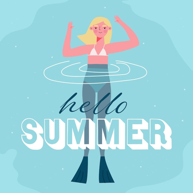 Hello summer with woman swimming Free Vector