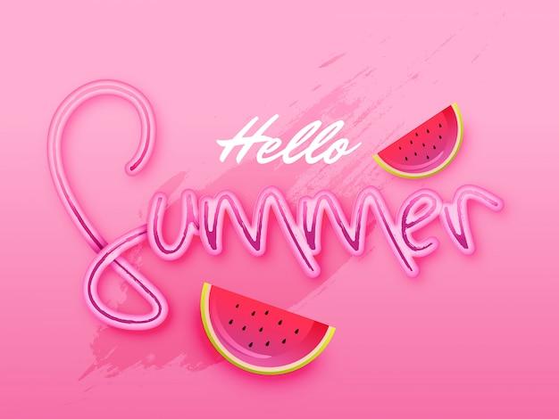 Стильный текст hello summer на розовом фоне Premium векторы