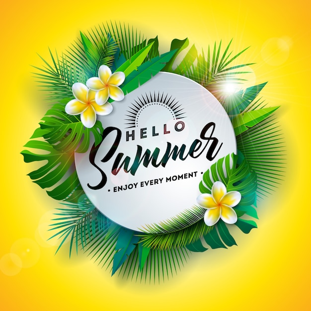 Hello summer иллюстрация с цветами и тропическими растениями Premium векторы