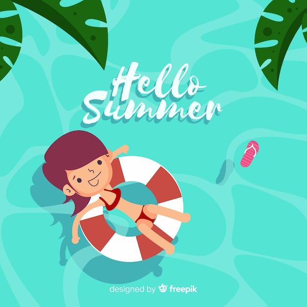 Hello summer Free Vector