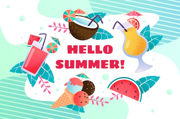 Hello summercard with ice cream and drinks Premium Vector