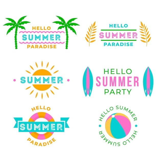 こんにちは夏のパーティーラベルコレクション 無料ベクター