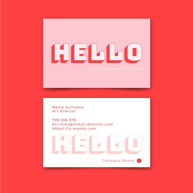 Hello text minimal business card template Free Vector