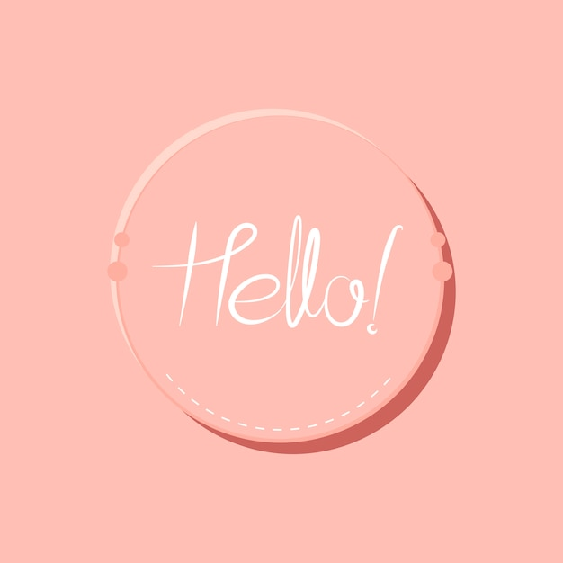 Hello typography badge design vector Free Vector