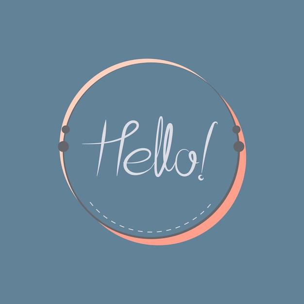 Hello typography badge design vector Free Vector