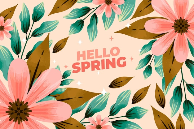 Hello watercolor spring background Free Vector