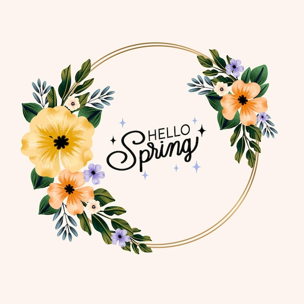 Hello watercolor spring floral frame Free Vector