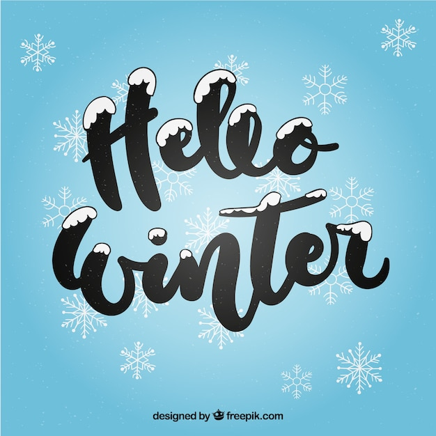 Hello winter background with black lettering