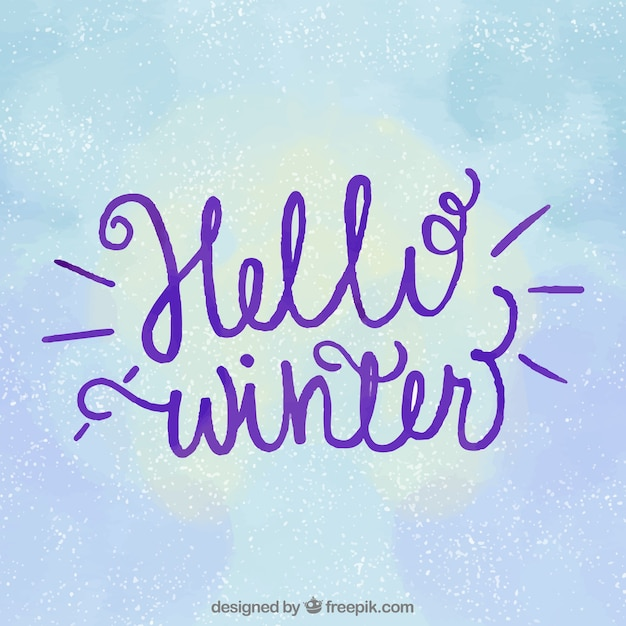 Hello winter background with purple lettering