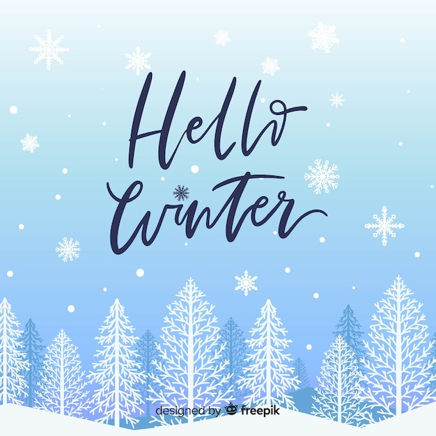 Hello winter background Free Vector