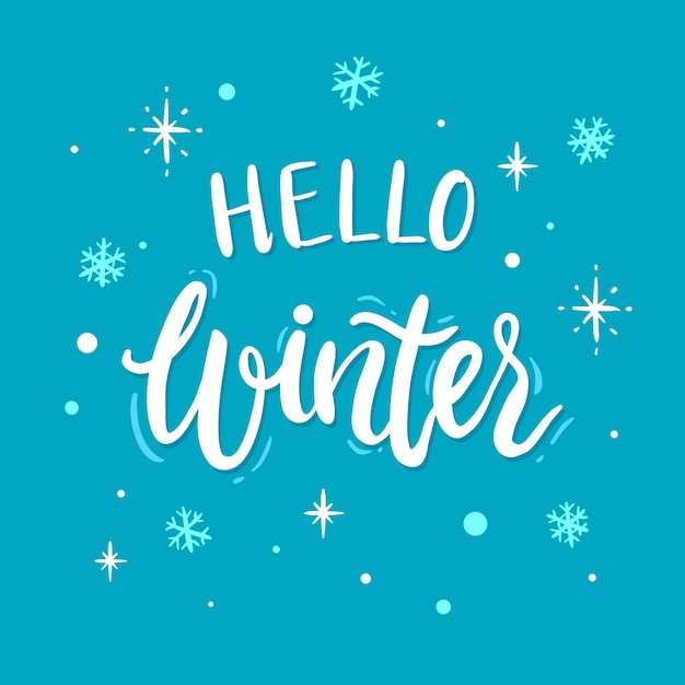 Hello winter concept lettering Free Vector