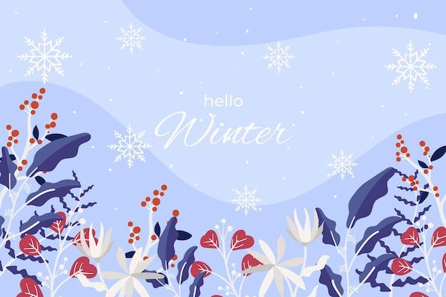 Ciao sfondo di saluto invernale Vettore gratuito