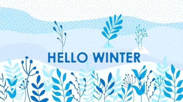 Hello winter leaves background Premium Vector