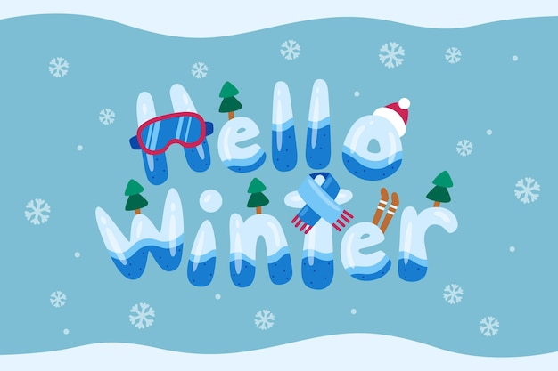 Hello winter lettering backgrond Free Vector