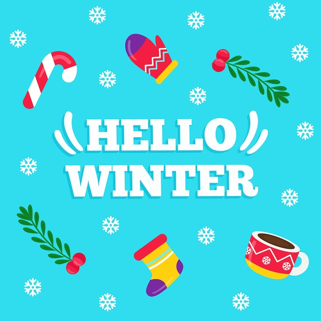 Hello winter lettering on blue background Free Vector