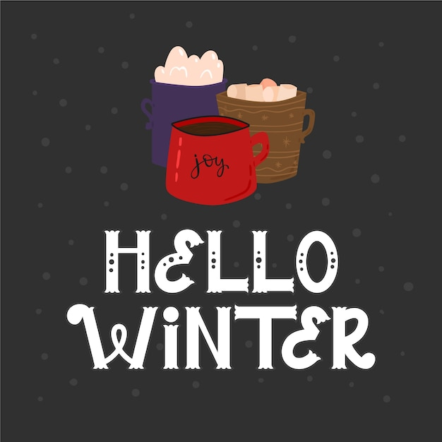 Hello winter lettering with hot chocolate Free Vector