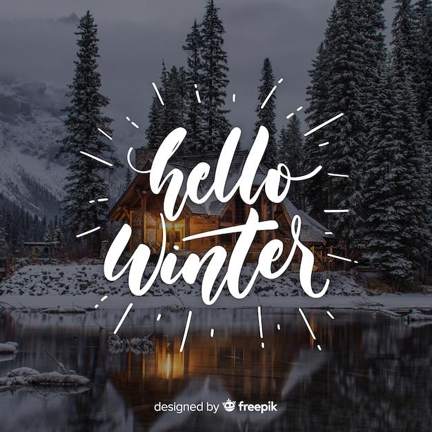 Hello winter lettering Free Vector