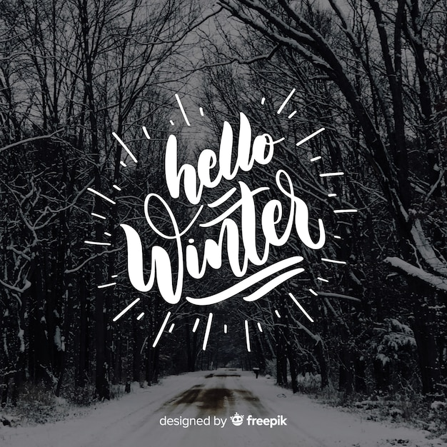 Hello winter lettering Free Vector