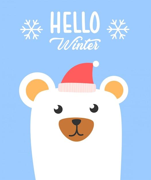 Hello winter polar bear poster Premium Vector