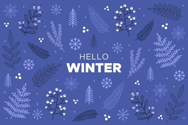 Ciao testo invernale su sfondo disegnato Vettore gratuito