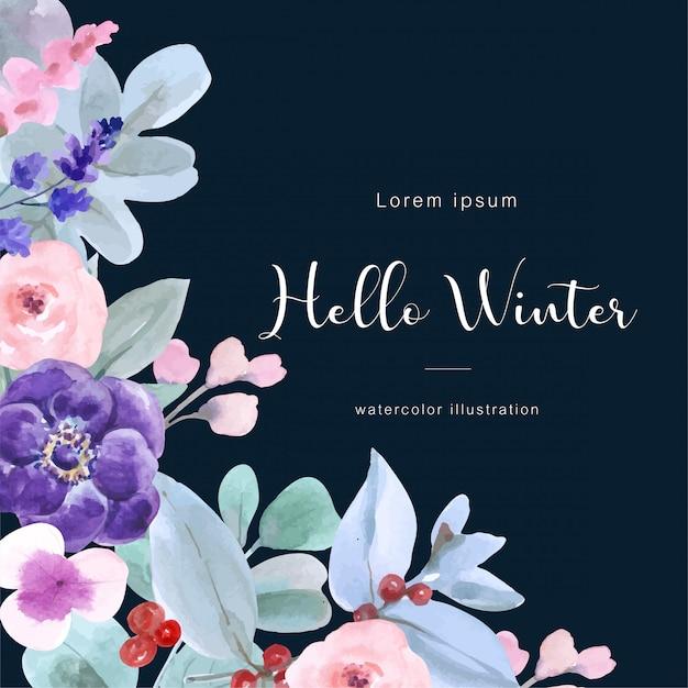 Hello winter watercolor background with winter attributes Premium Vector