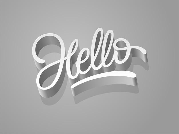 Привет слово дизайн каллиграфии Premium векторы