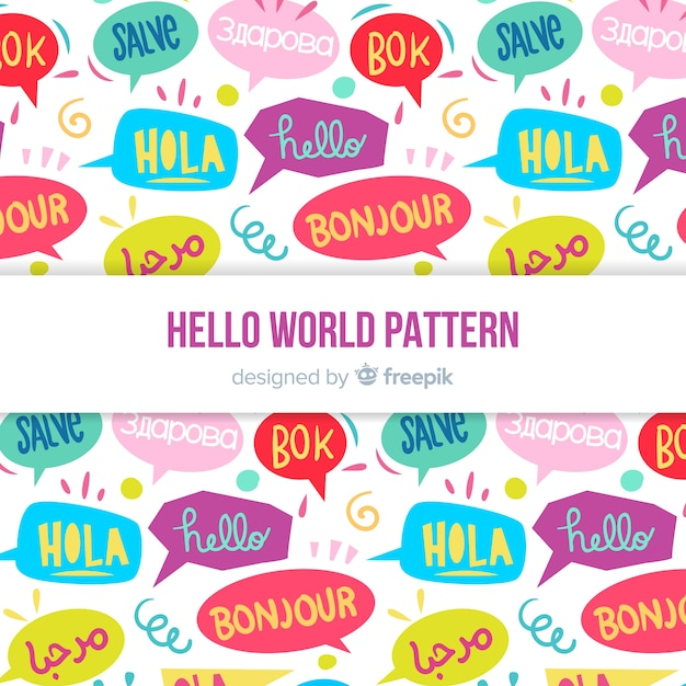 Hello word pattern in different languages Free Vector