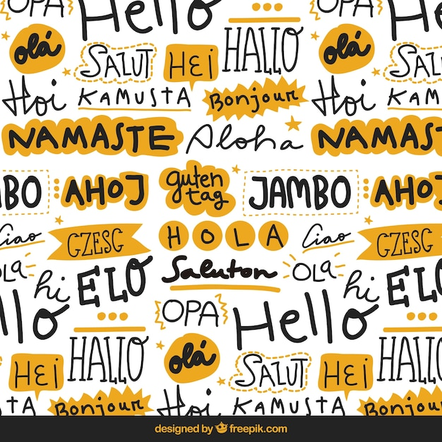 Hello words pattern in different languages Free Vector