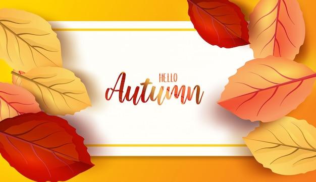 Абстрактные красочные листья украшены фон для hello осень рекламы заголовка или дизайн баннера. Premium векторы