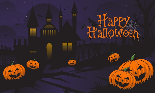 Hellowen background Premium Vector
