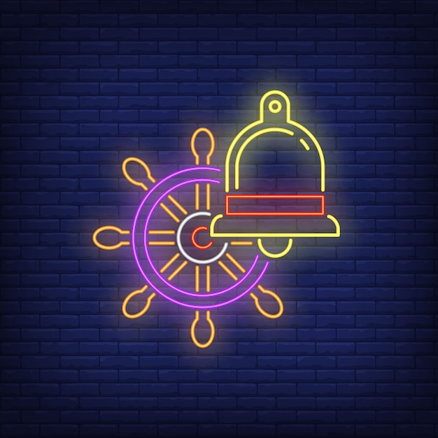 Helm and bell neon sign. ship steering wheel. glowing banner or billboard elements. Free Vector