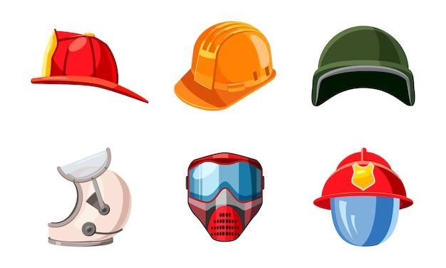 Helmet elements set. cartoon set of helmet Premium Vector