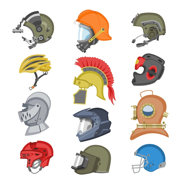 Helmet  helm equipment protection or safety sport headpiece protecting head illustration set of motorcycle headgear with helmet-shield and ancient knight headwear  on white background Premium Vector
