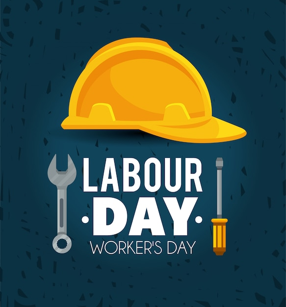 Helmet with screwdriver and wrench to labour day Premium Vector