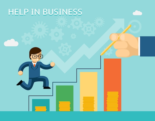 Help in business concept. partnerships and mentoring. mentor and success, advice, and partner Free Vector