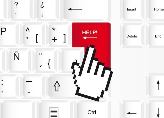 Help button over keyboard background, vector illustration Premium Vector