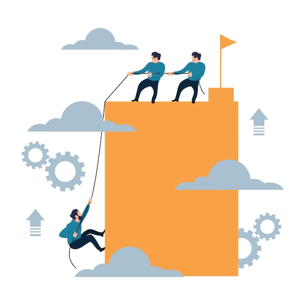 Help climbing to success together flat cartoon style Premium Vector