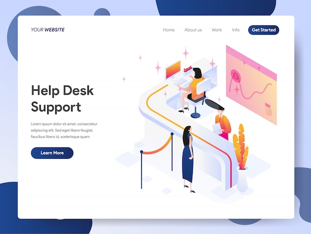 Help desk support banner of landing page Premium Vector