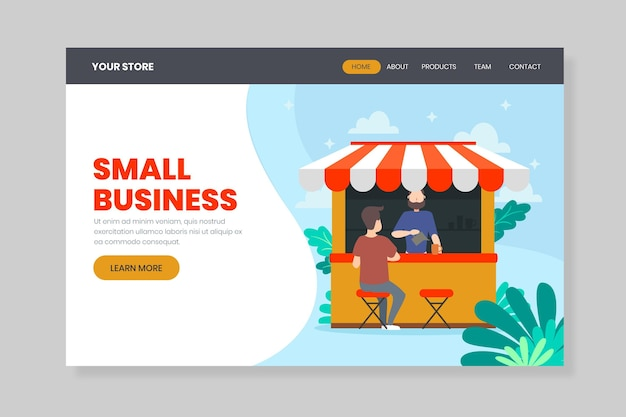 Help the local business landing page Free Vector