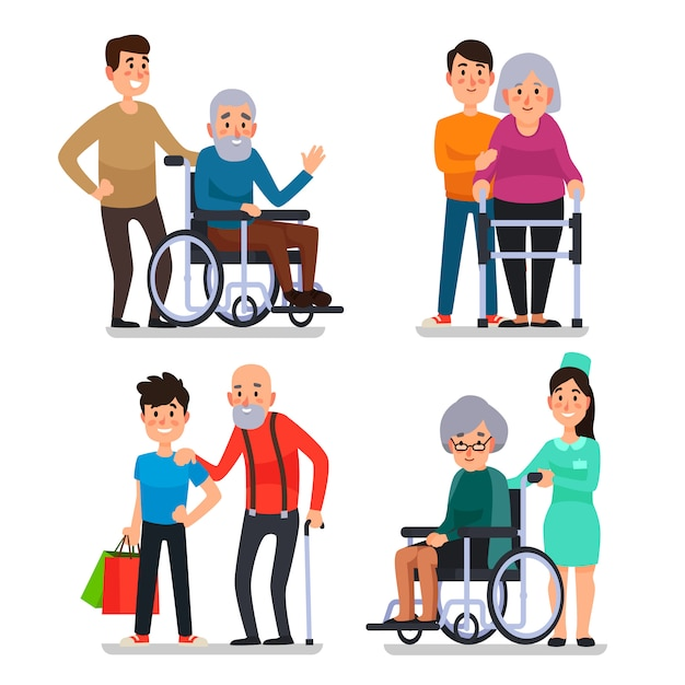 Help old disabled people Premium Vector