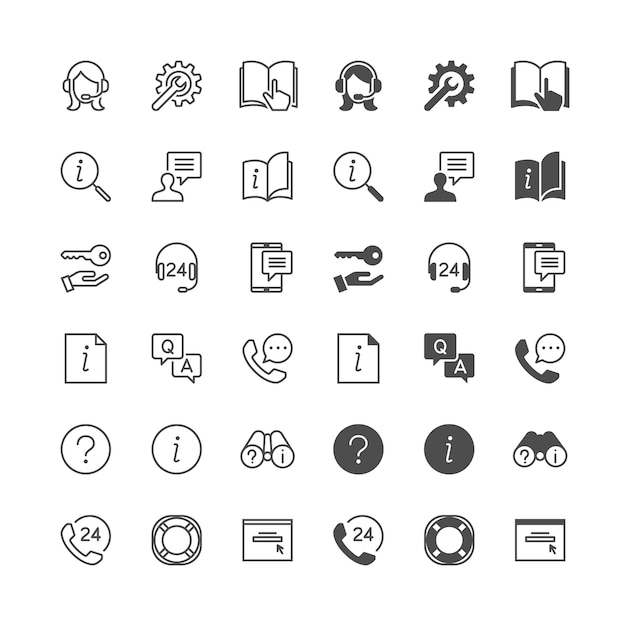 Help and support icons Premium Vector