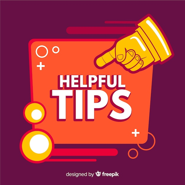 Helpful tips background with pointing finger Free Vector